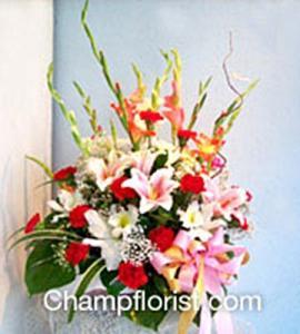 กระเช้าดอกไม้สด bk 11
