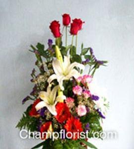 กระเช้าดอกไม้สด bk12