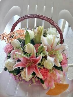 กระเช้าดอกไม้สด bk 10